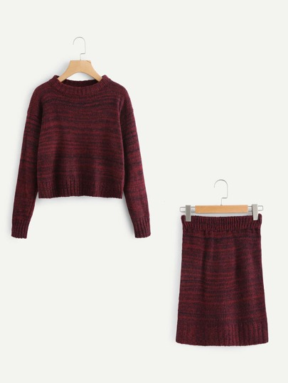 Drop Shoulder Knit Sweater With Skirt