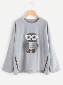 Owl Applique Zip Side Marled Pullover