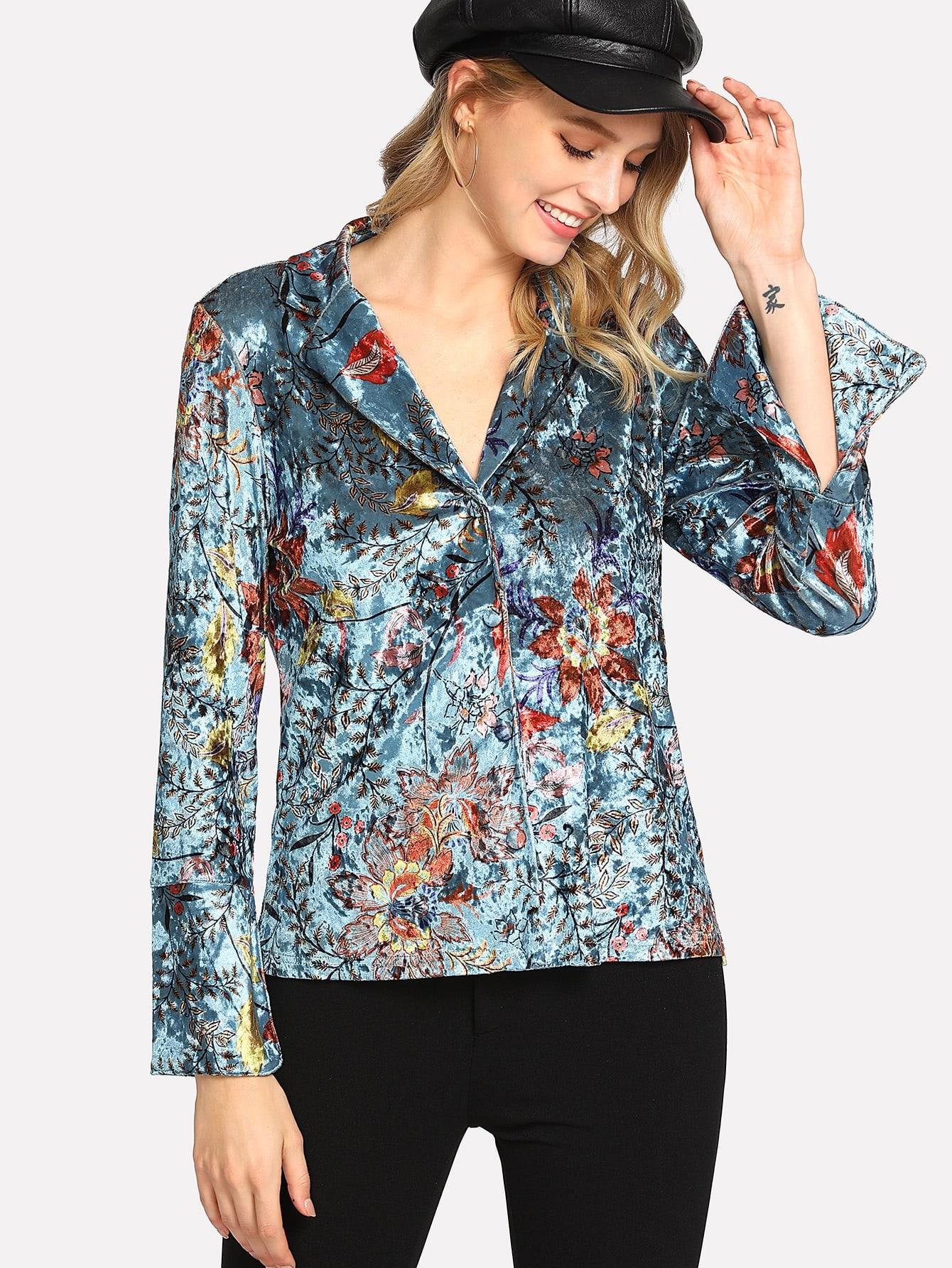 Revere Collar Floral Velvet Blouse revere collar allover flamingo print blouse