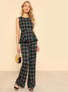 Gingham Peplum Top & Flare Pants Set
