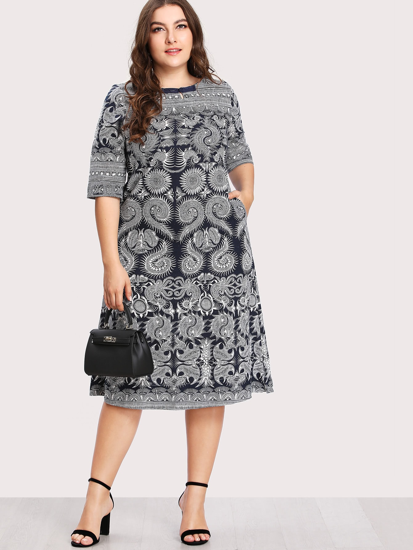 Plus Baroque Print Hidden Pocket Dress