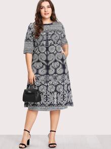 Baroque Print Hidden Pocket Dress