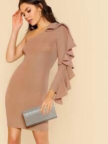 Metallic One Shoulder Ruffle Bodycon Dress MAUVE