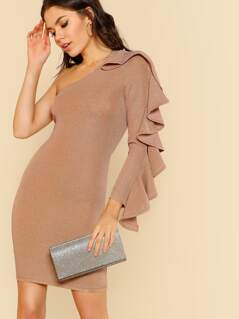 Metallic One Shoulder Ruffle Bodycon Dress MAUVE