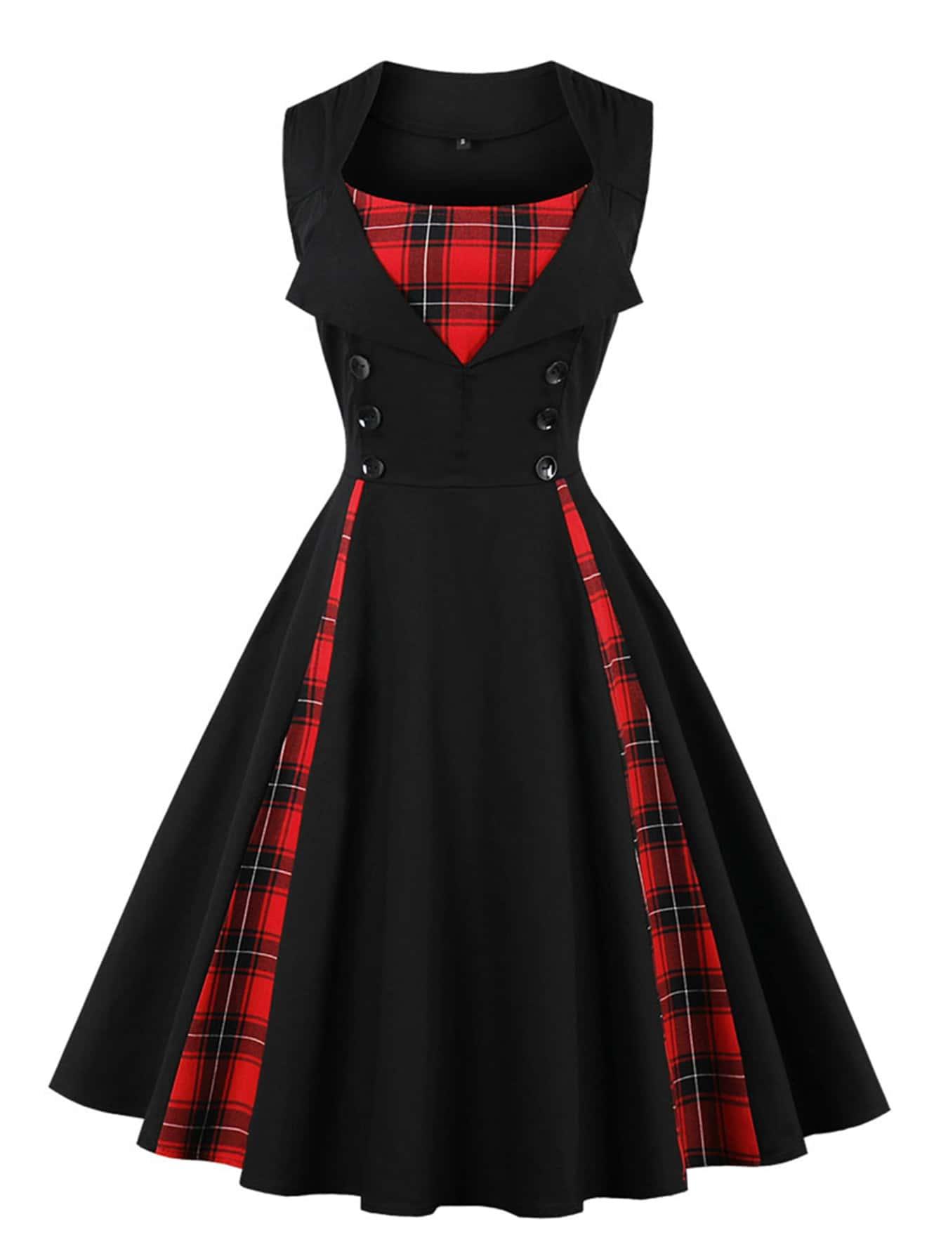 где купить Contrast Tartan Plaid Flare Dress по лучшей цене