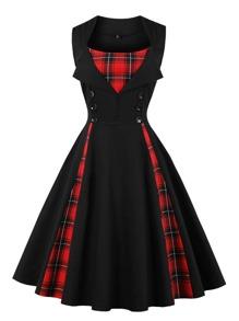 Contrast Tartan Plaid Flare Dress