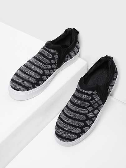 Graphic Pattern Slip On Plimsolls