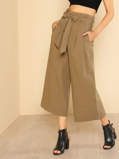 Flared High Waist Frilled Belted Pants CAMEL