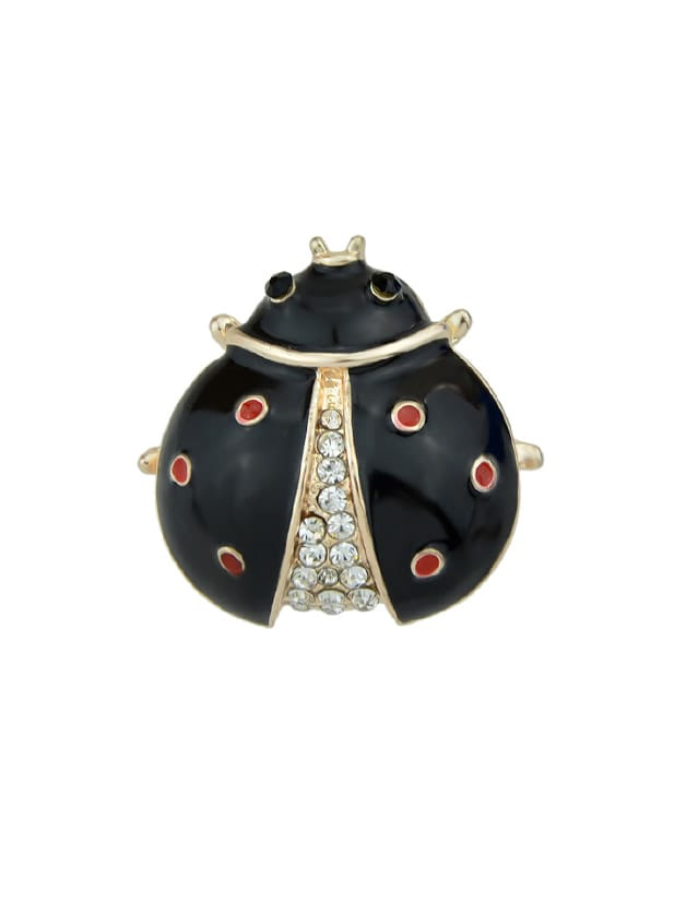 Black Enamel With Rhinestone Insect Ladybug Brooches Fashion Jewelry enamel sector pattern brooches with red tassel