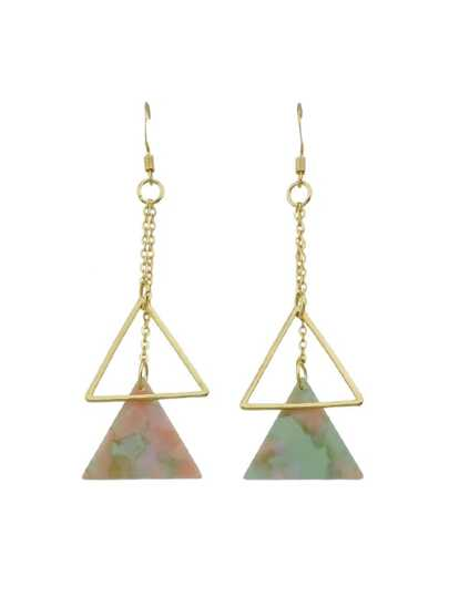 Pink-Green Long Chain Triangle With Multicolored Natural Stone Dangle Earrings