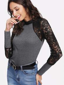Stand Neck Lace Panel Ribbed Tee