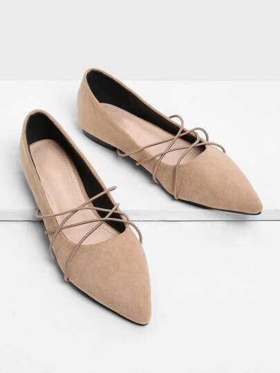 Criss Cross Pointed Toe Suede Flats