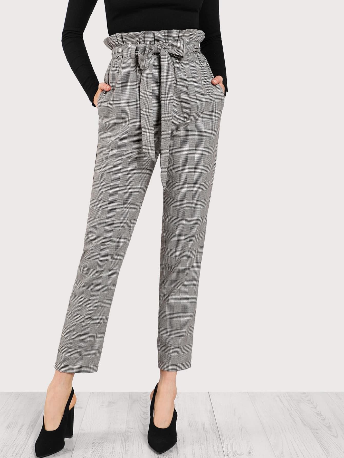 Frilled Tie Waist Plaid Pants dark grey tie waist sports pants