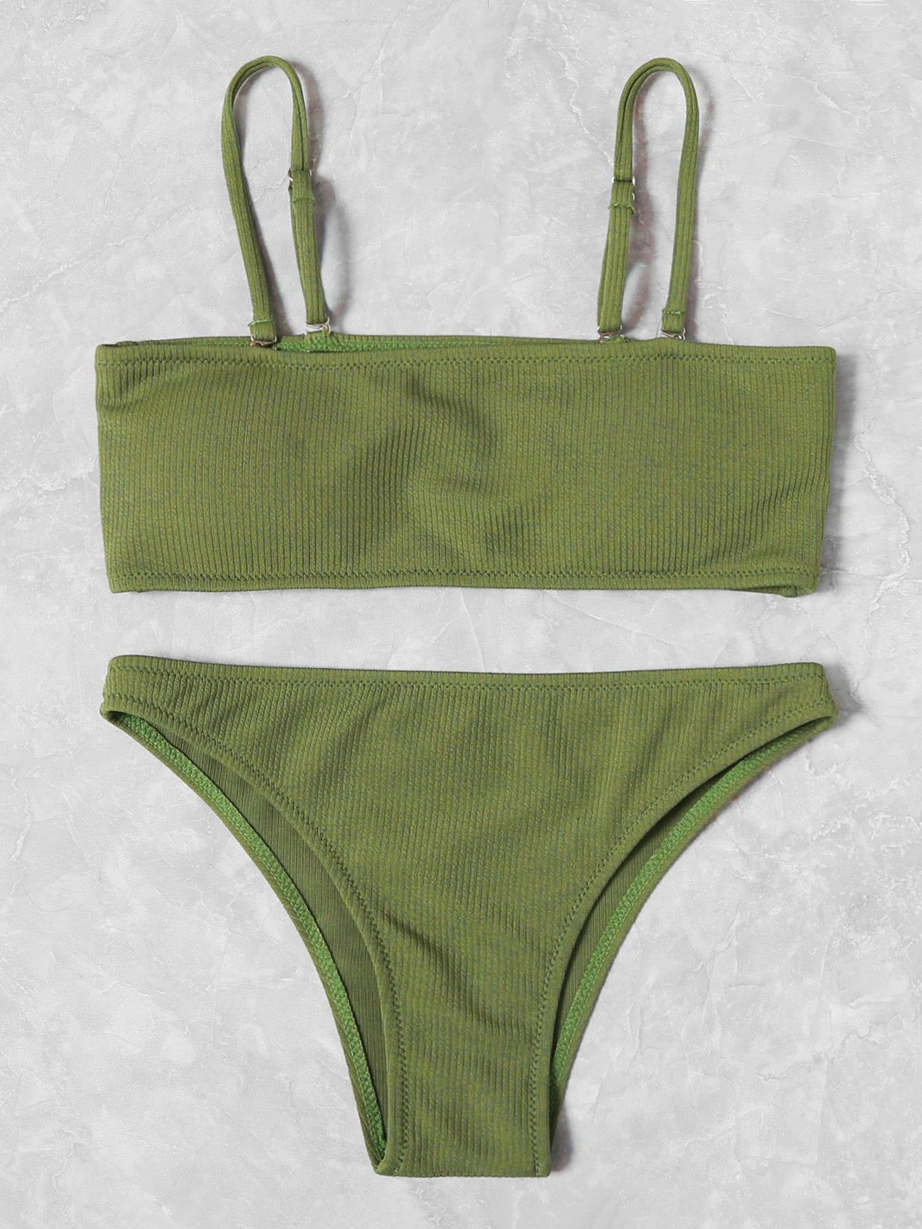 Фото Ribbed Bandeau Bikini Set checker knot bikini set