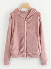 Faux Fur Zip Up Hooded Jacket
