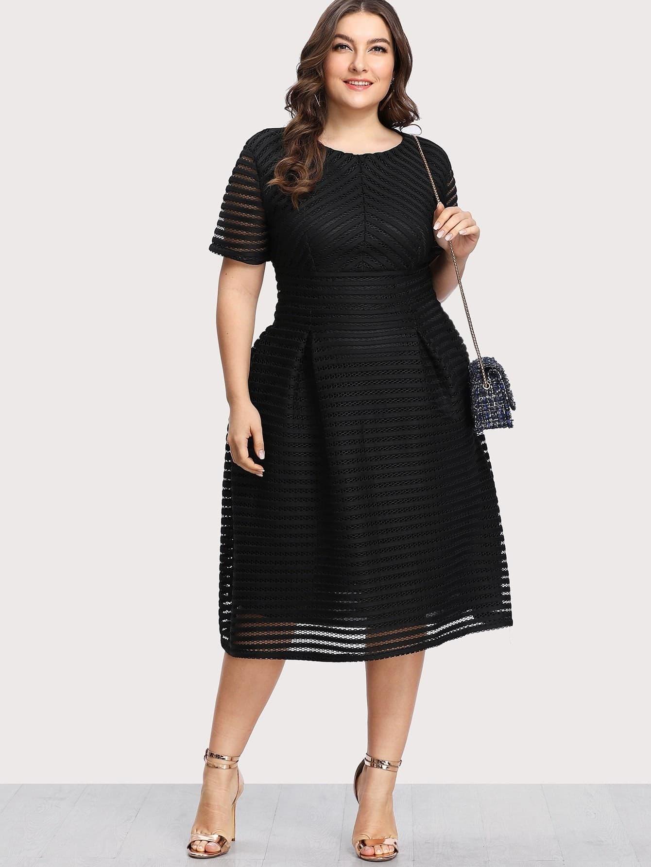 Box Pleated Striped Mesh Dress contrast mesh box pleated plain dress