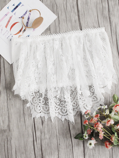 Crochet Trim Lace Tube Top