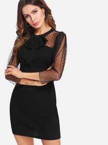 Dot Mesh Shoulder Bow Accent Dress
