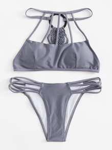 Woven Back Caged Bikini Set