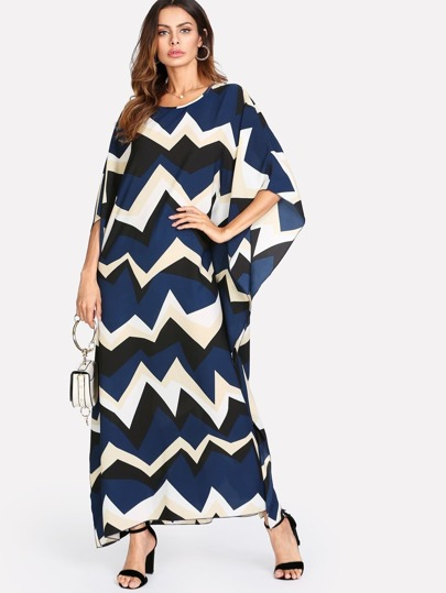 Allover Chevron Print Loose Dress