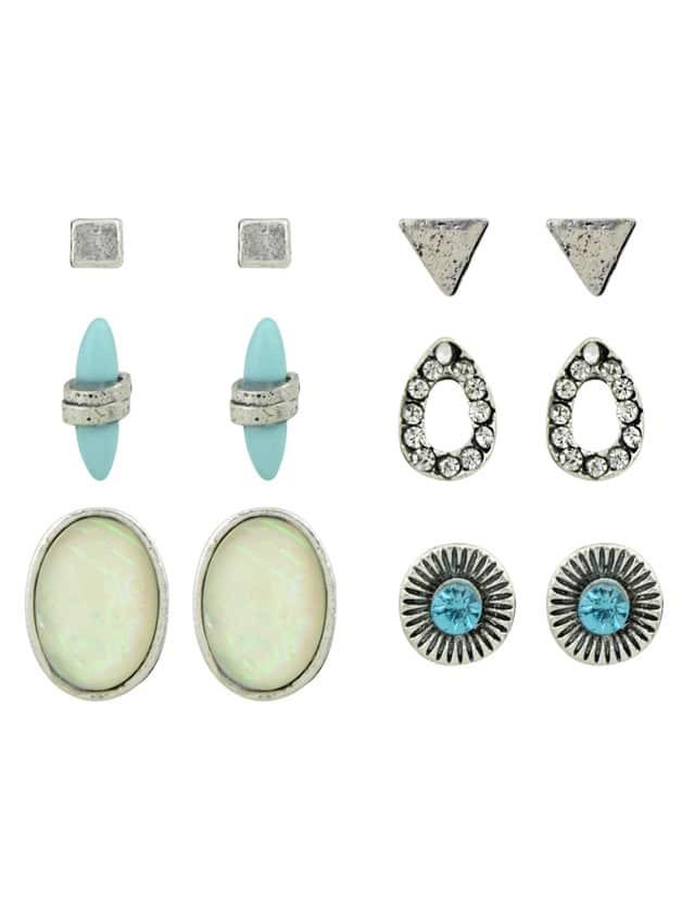 Rhinestone Triangle Square Round Stud Earrings Set rhinestone alloy stud earrings set