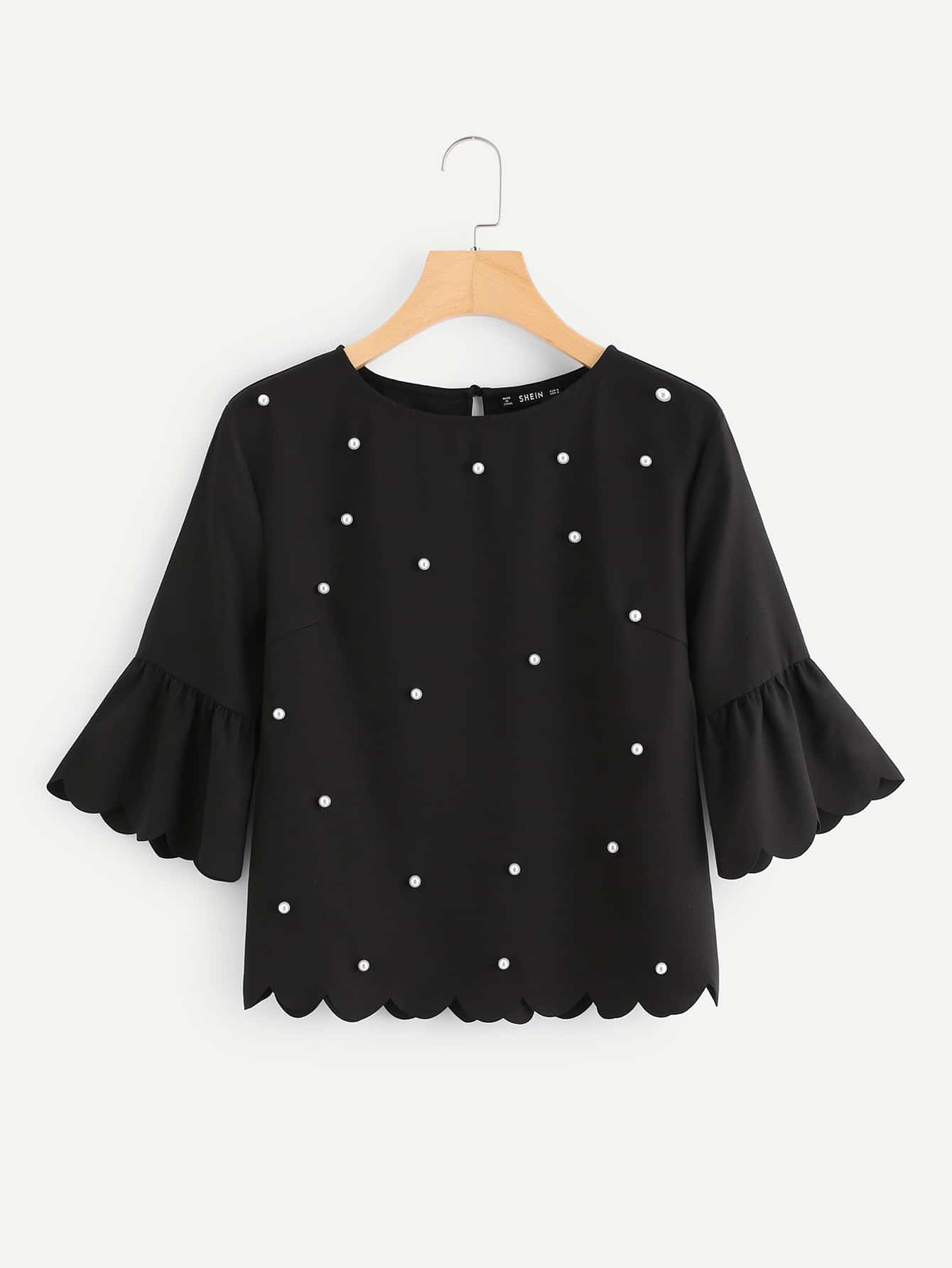 Pearl Beading Trumpet Sleeve Scalloped Top pearl beading layered sleeve top
