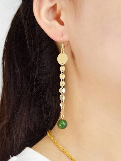 Green Beads Long Chain Pendant Earrings