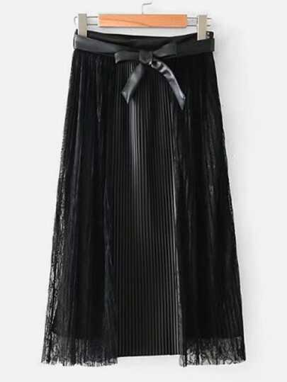 Lace Panel Pleated Skirt With Belt