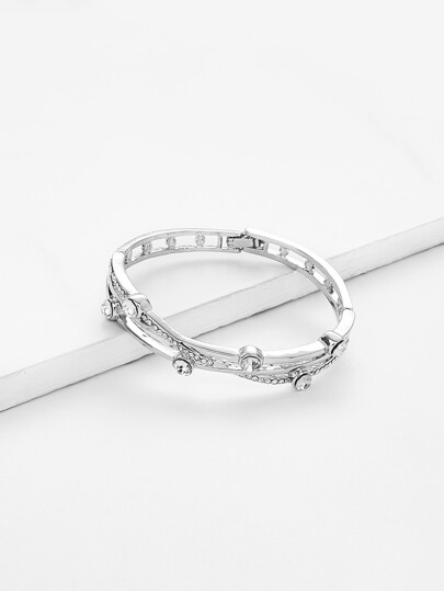 Rhinestone Detail Cut Out Bangle Bracelet