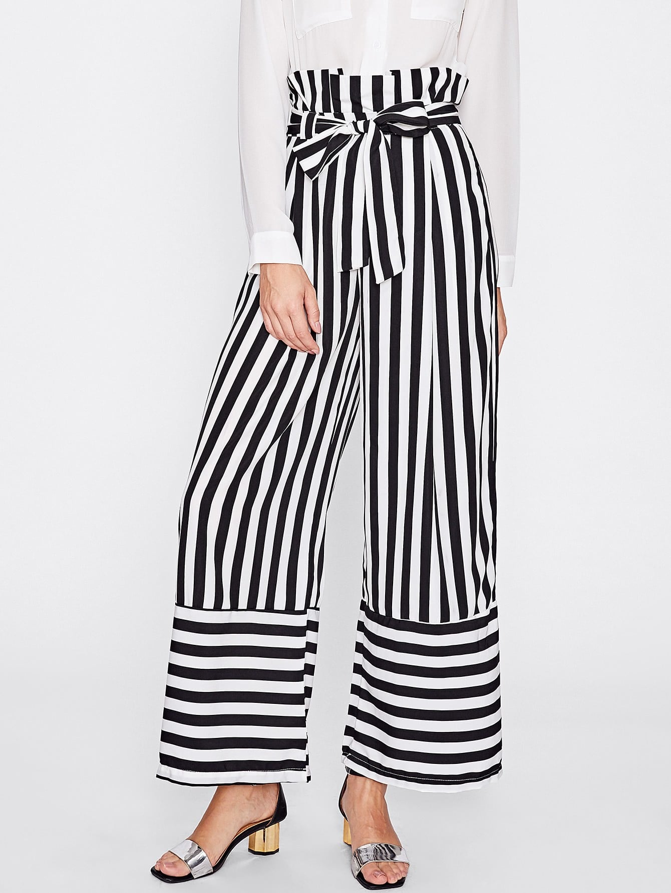 Contrast Stripe Self Tie Wide Leg Pants bow tie side wide leg pants
