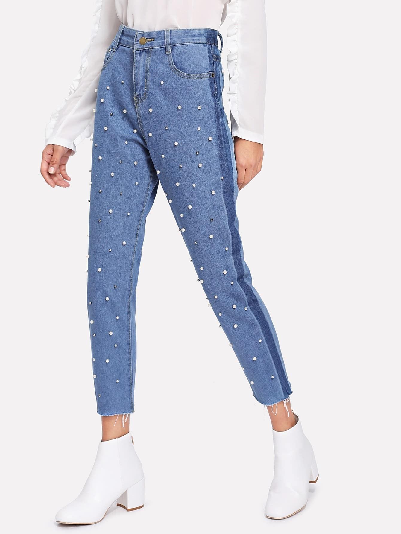 Фото Faux Pearl Decoration Jeans faux pearl