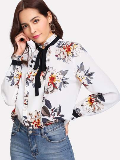 Frill Detail Tied Neck Floral Blouse