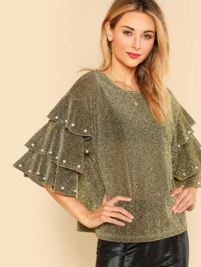 Pearl Beading Tiered Sleeve Glitter Top