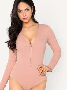 O-Ring Zip Front Plunging Bodysuit
