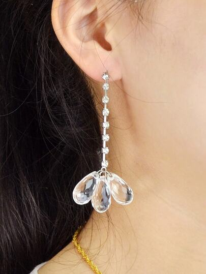 Rhinestone Long Chain Drop Earrings