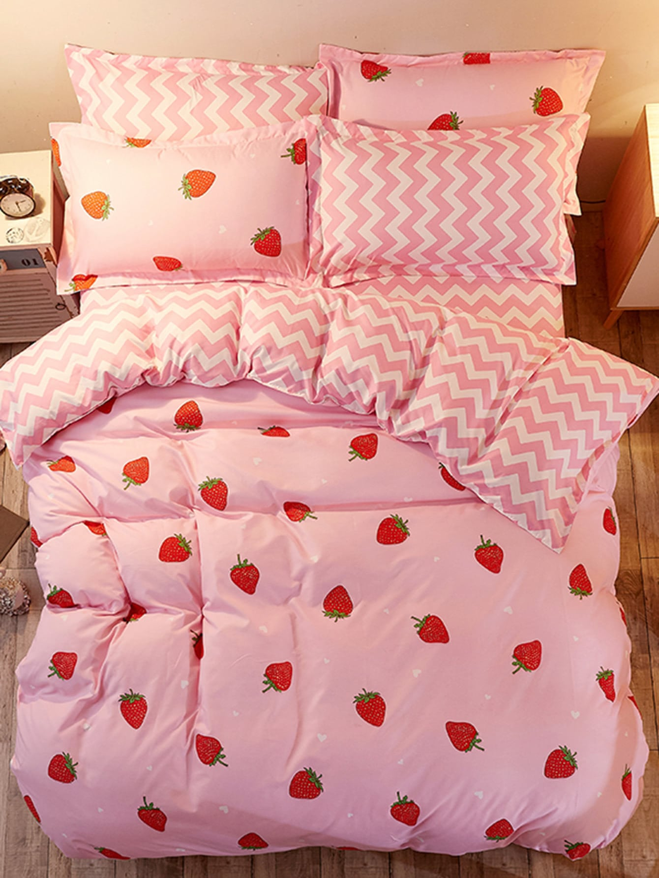 1.5m 4Pcs Fruit Print Chevron Duvet Cover Set 1 2m 4pcs fruit print duvet cover set