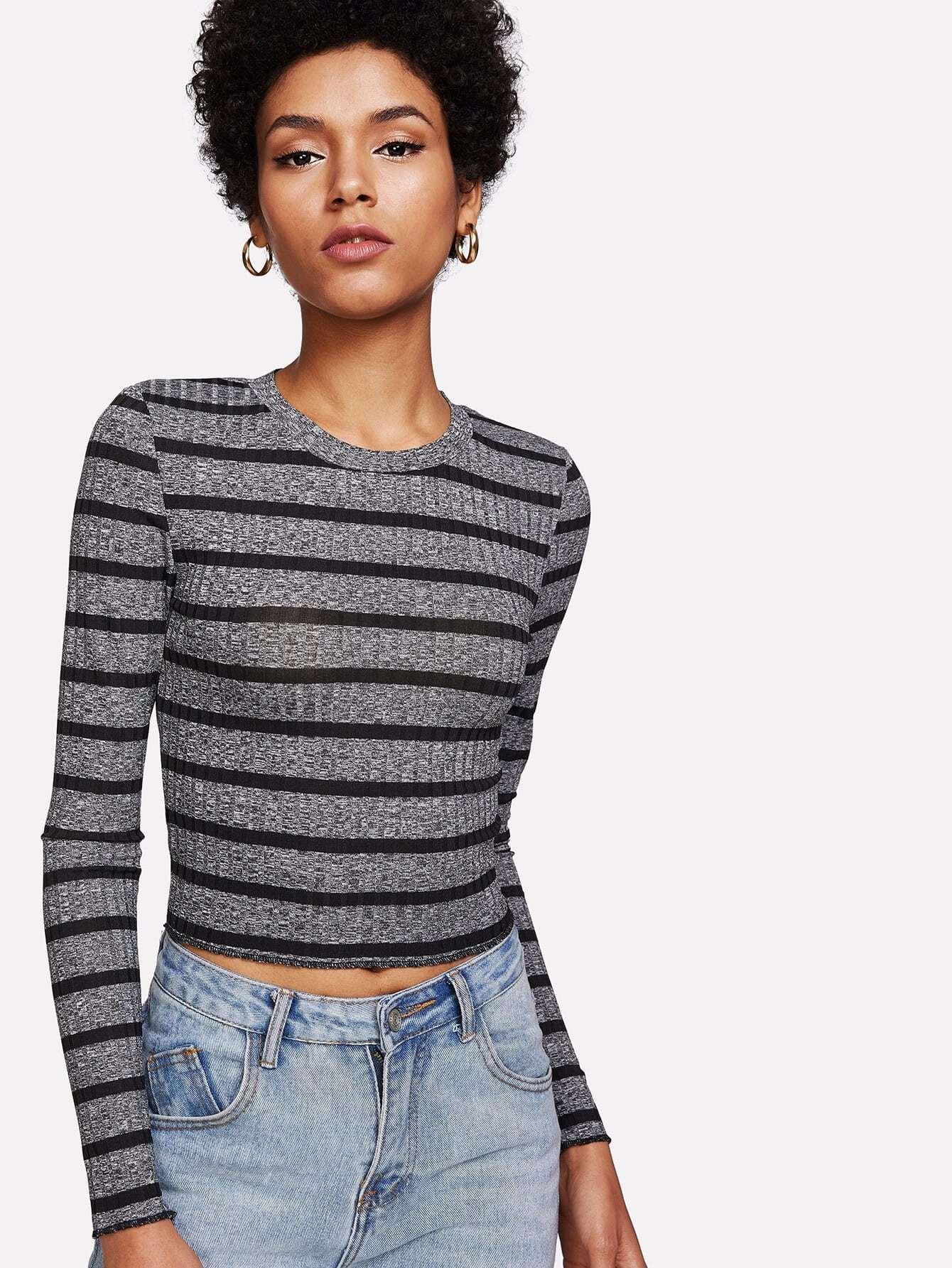 Striped Knit Crop Tee checkered crop knit tee