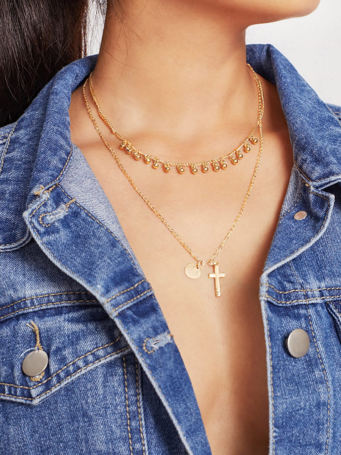 Cross & Sequin Pendant Layered Chain Necklace cross pendant layered chain necklace