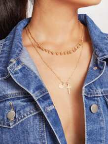 Cross & Sequin Pendant Layered Chain Necklace
