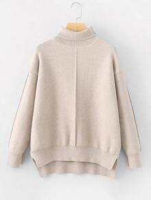 Step Hem Turtleneck Sweater