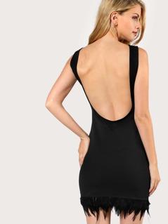 Feather Hem Backless Dress