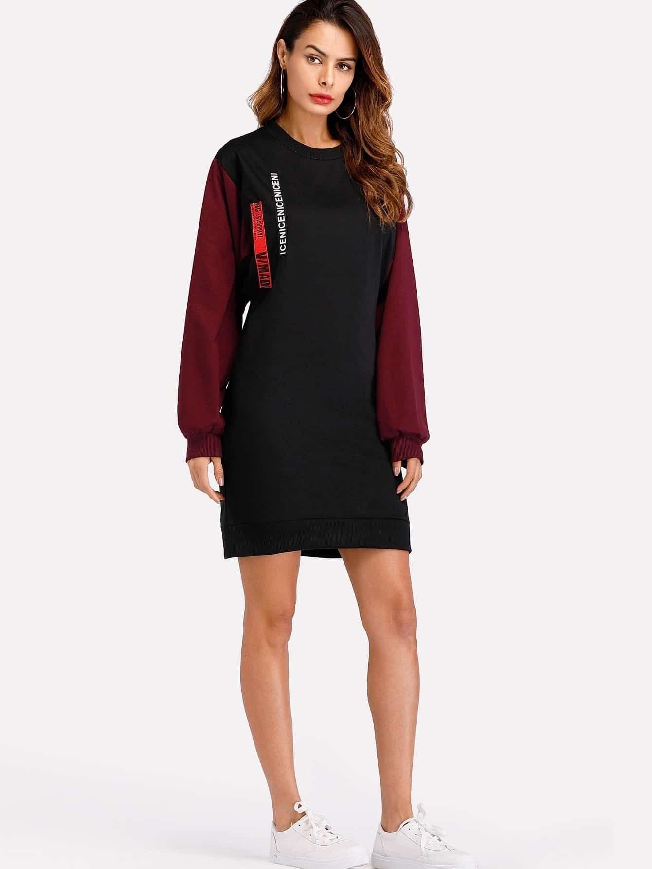 Contrast Sleeve Tape Detail Sweatshirt Dress frill sleeve tape detail sweatshirt