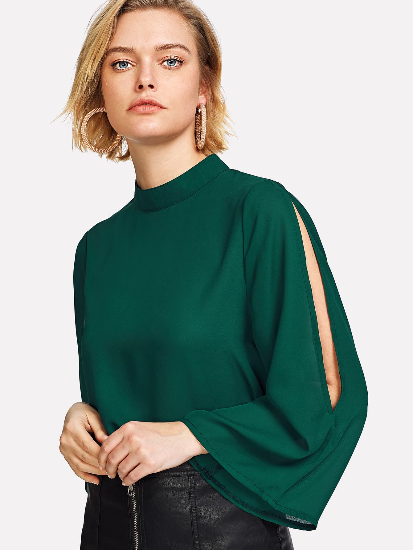 Купить Модная блуза с вырезом, Michelle, SheIn