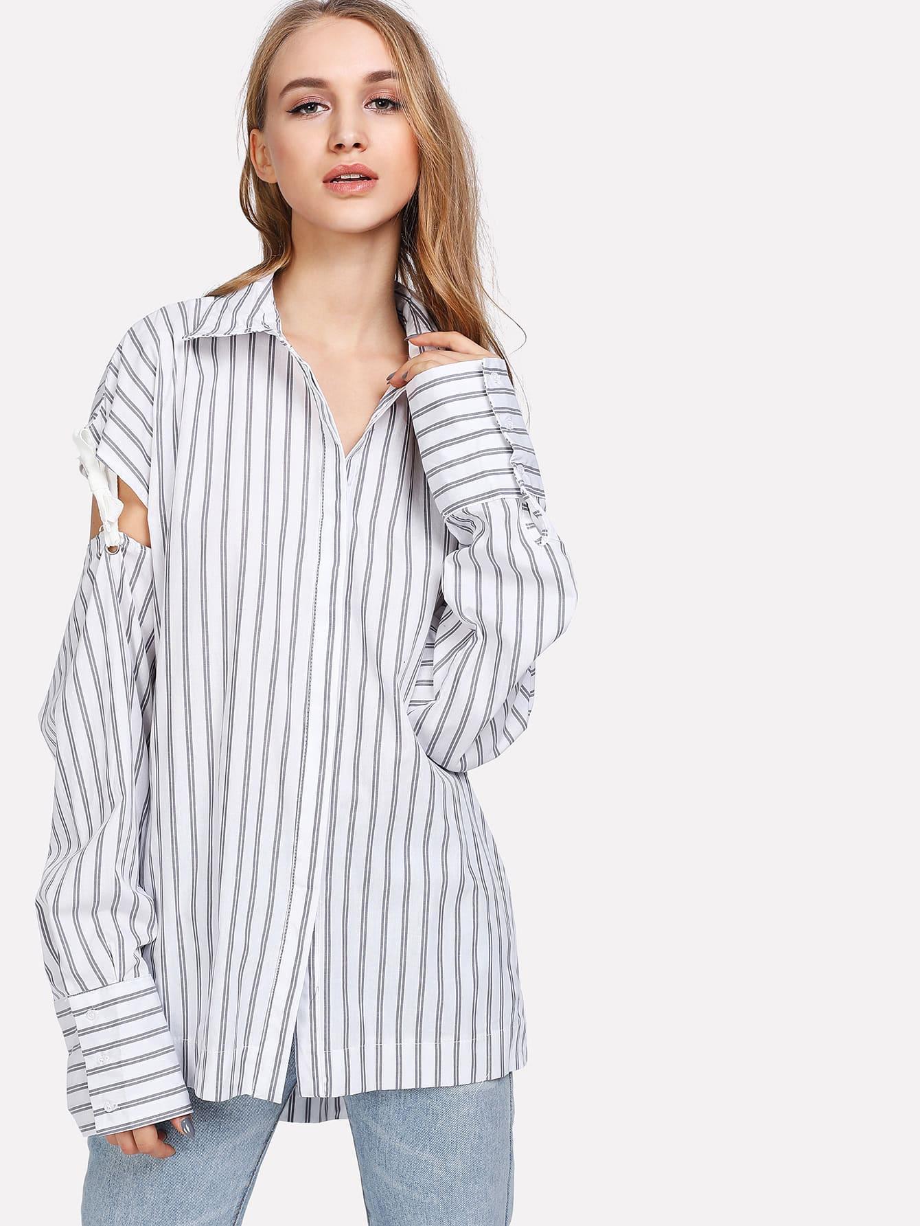 Hidden Button Cutout Tied Sleeve Pinstripe Shirt batwing sleeve pinstripe shirt dress