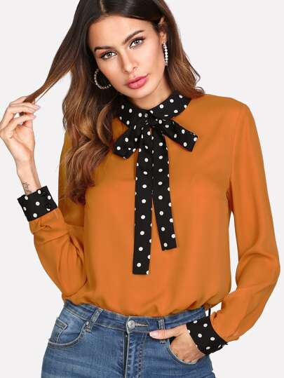 Polka Dot Tie Neck And Cuff Blouse
