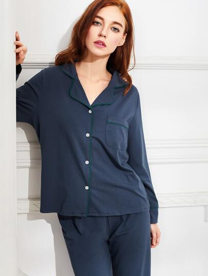 Контраст Binding Shirt & Pants Pj Set