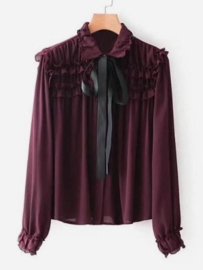 Contrast Tie Neck Frill Blouse