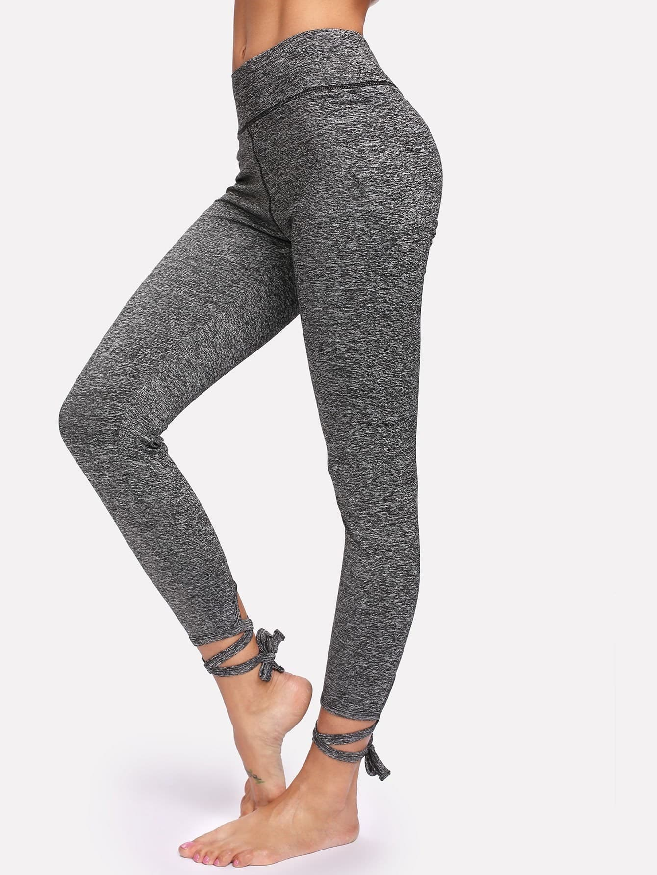 Lace Up Hem Leggings