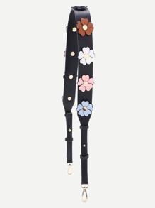 Flower Decorated PU Bag Strap