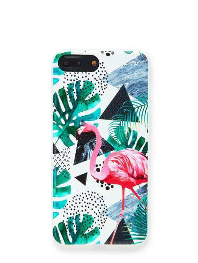 Flamingo & Leaves Print iPhone Case